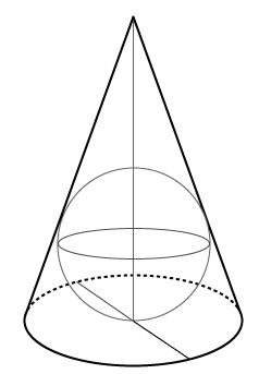 円すいの中の球体