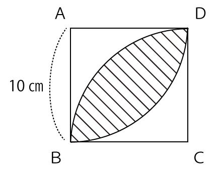 正方形内の扇形の面積