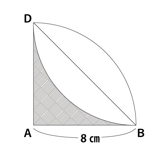 扇形の面積引く三角形から面積を求める